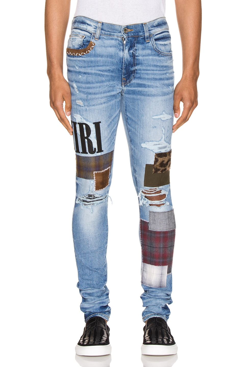 Image 1 of Amiri Grunge Patch Jean in Medium Crafted Indigo