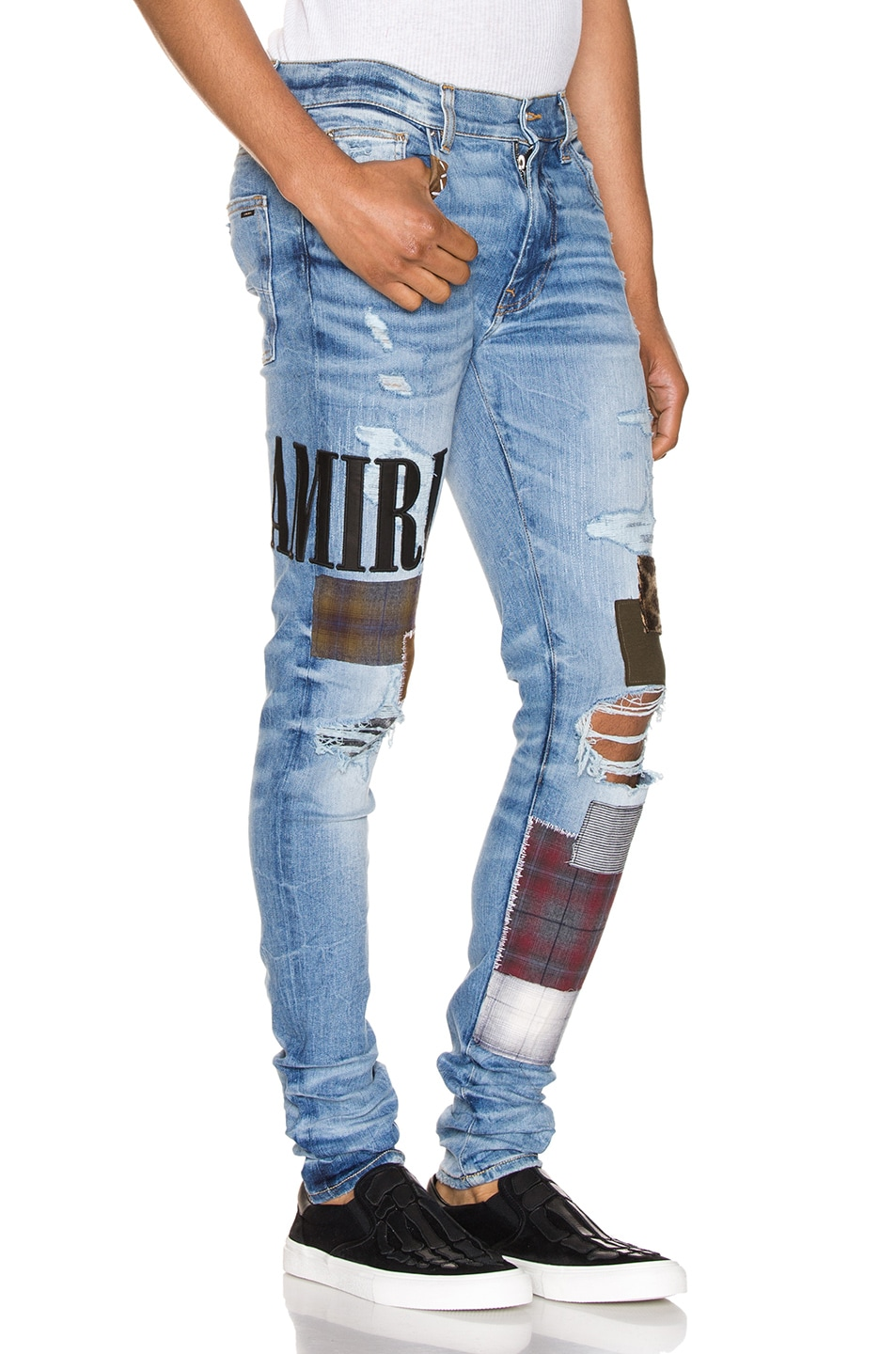 Image 2 of Amiri Grunge Patch Jean in Medium Crafted Indigo