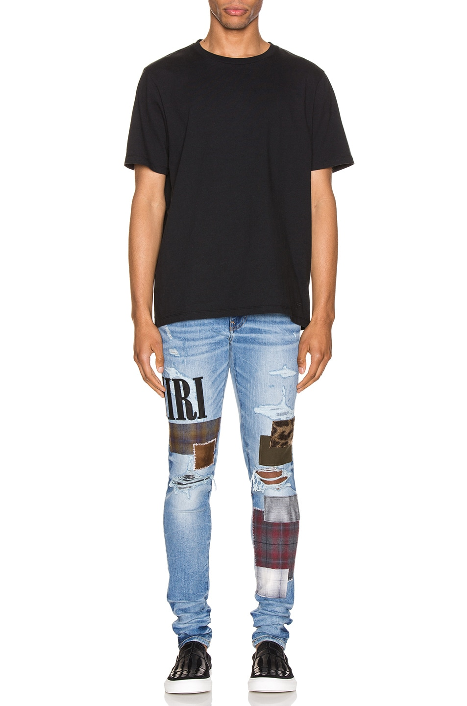 Image 5 of Amiri Grunge Patch Jean in Medium Crafted Indigo