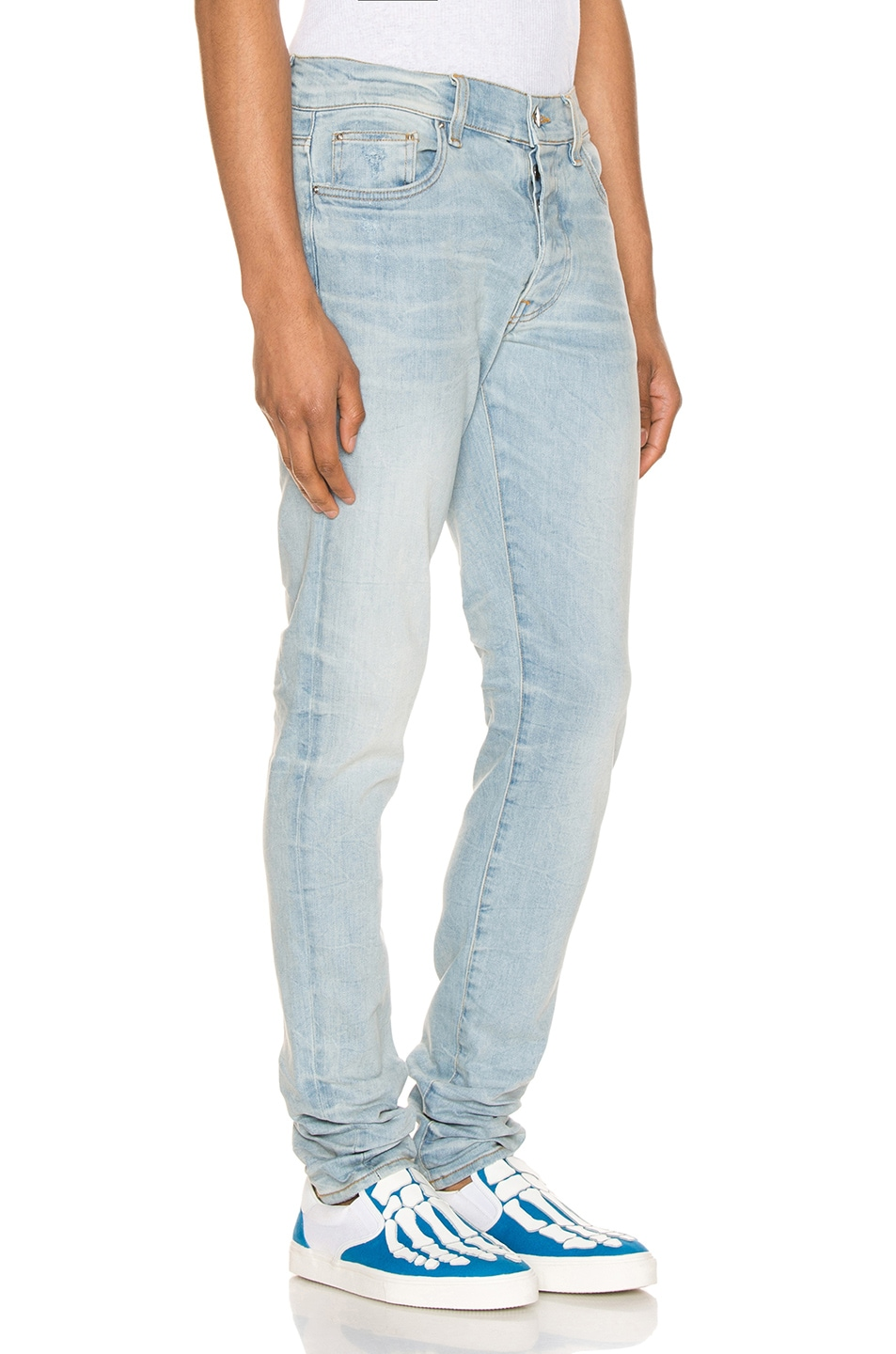 Image 2 of Amiri Stack Jean in Light Crafted Indigo