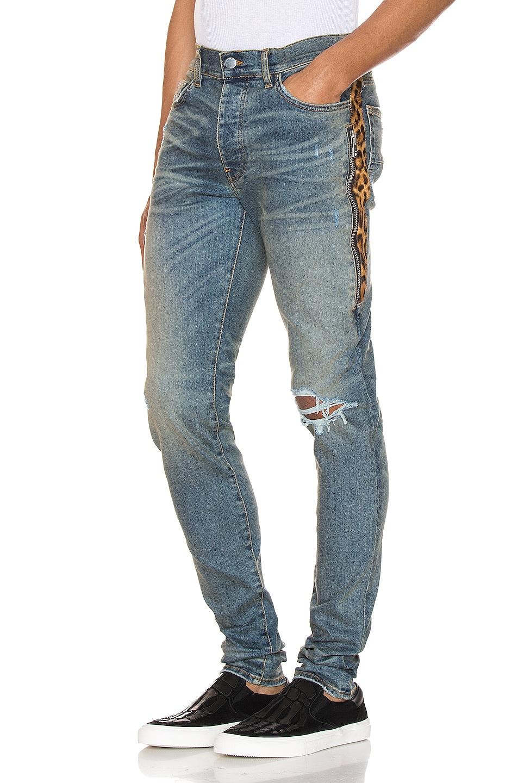 Amiri Jeans Leopard Half Track Broken Denim Jean