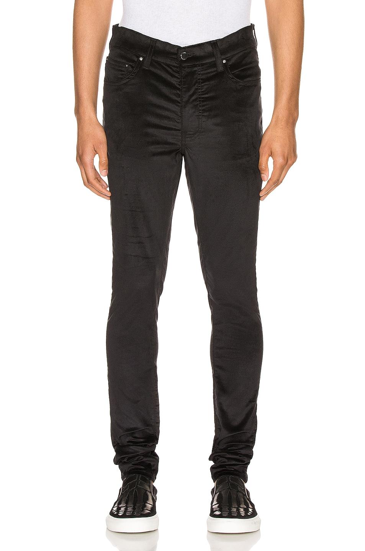 Image 1 of Amiri Velour Skinny Stack Pants in Black