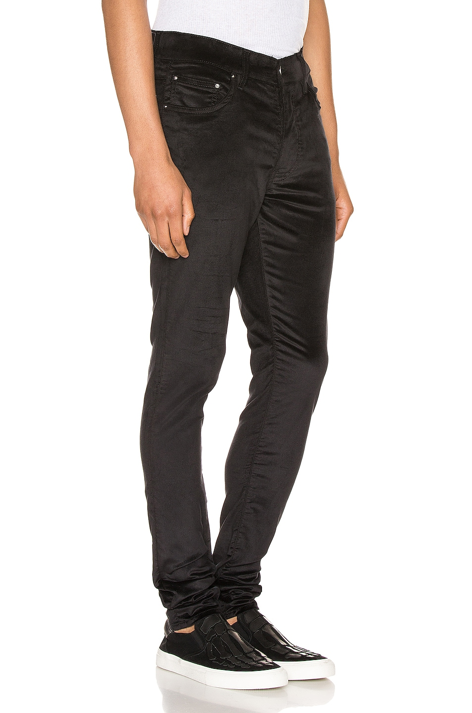 Image 2 of Amiri Velour Skinny Stack Pants in Black