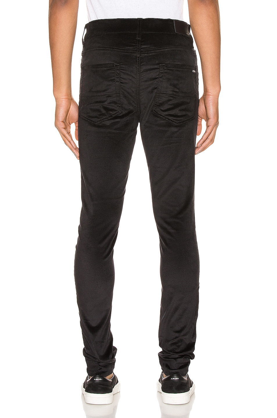 Image 3 of Amiri Velour Skinny Stack Pants in Black