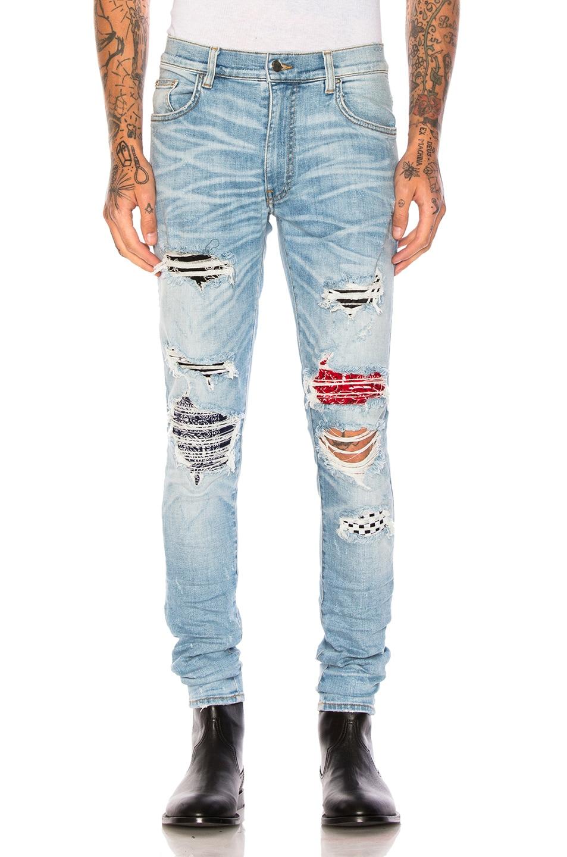 Image 1 of Amiri Art Patch Jeans in Rosebowl