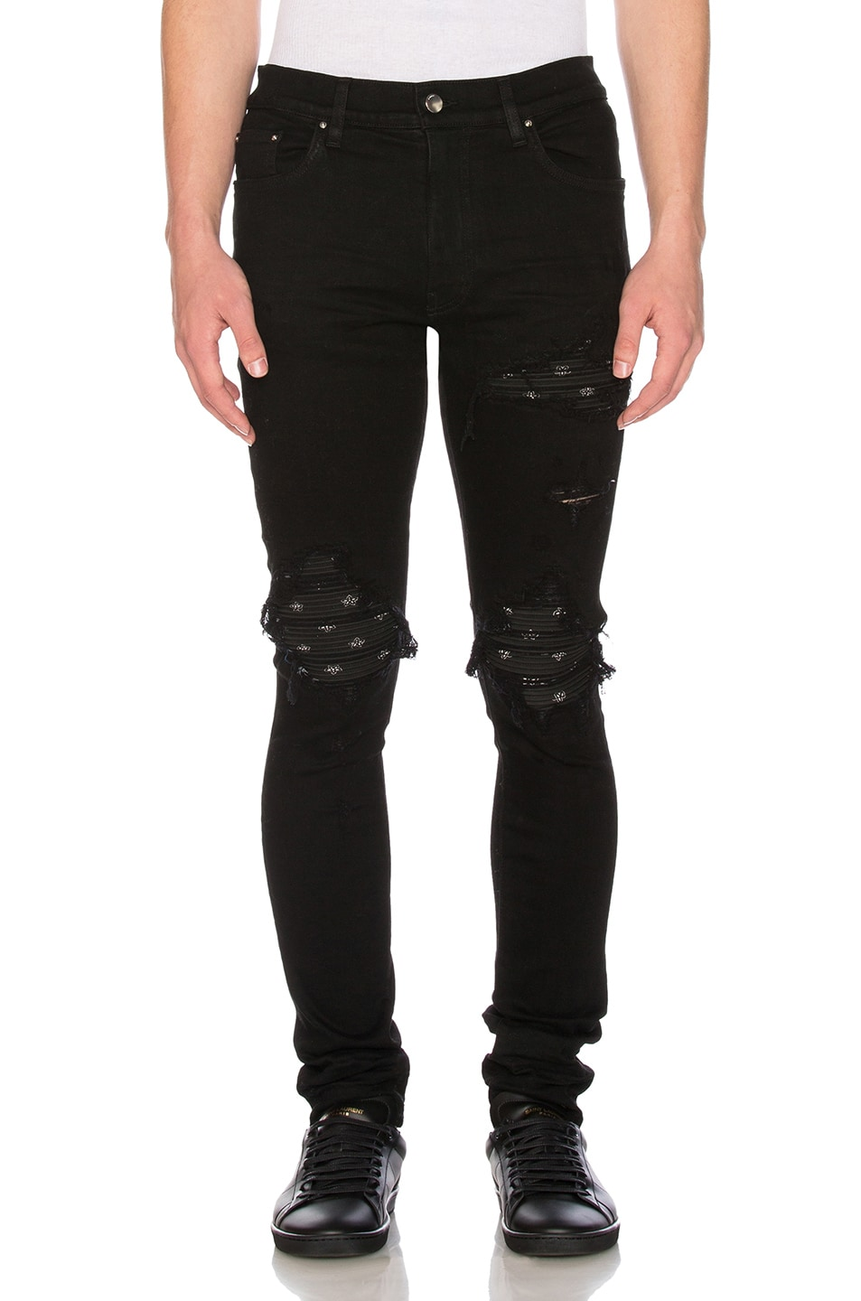 Amiri Mx1 Black Bandana Jeans In Black Fwrd