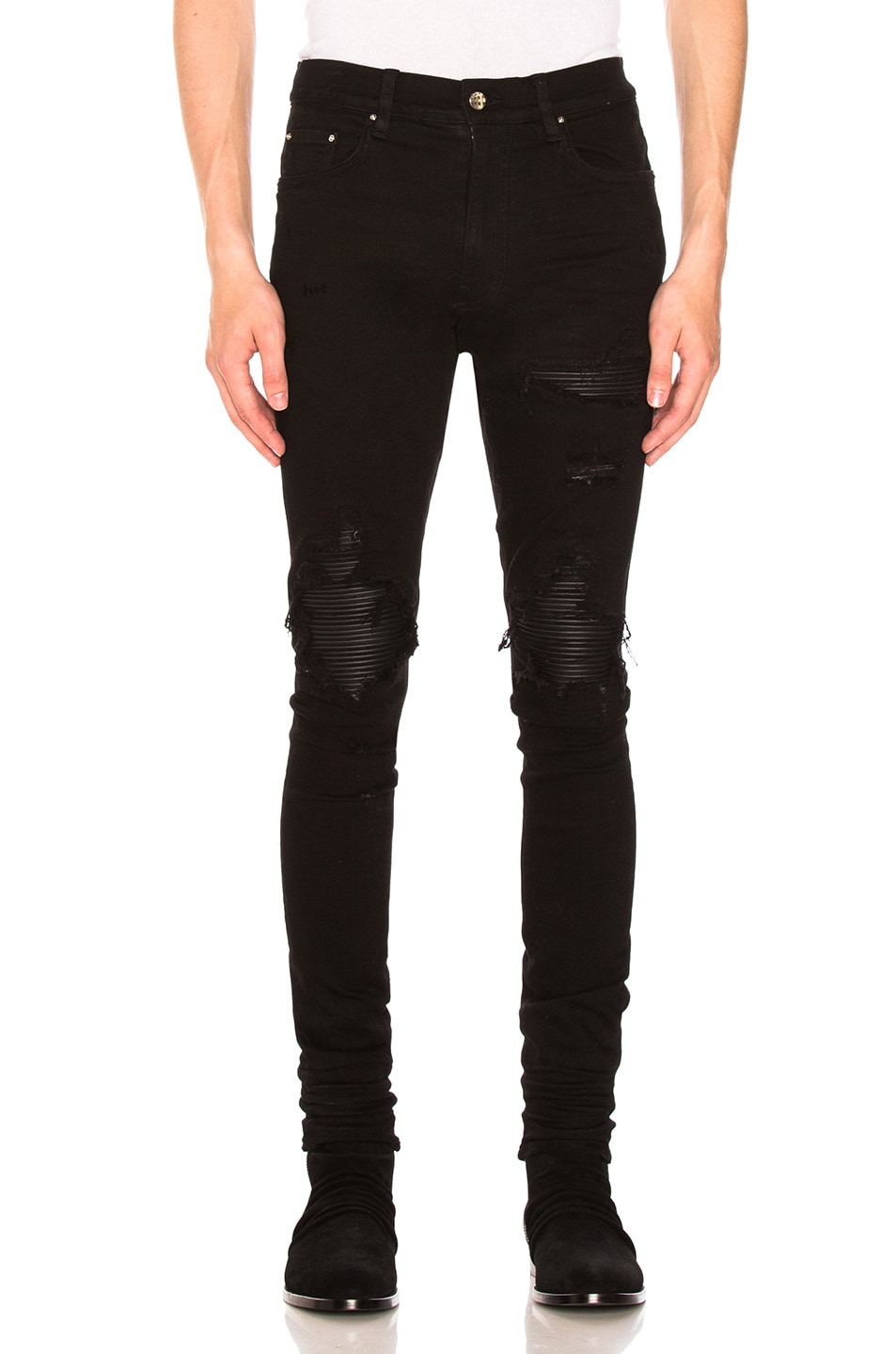 Image 1 of Amiri MX1 Leather Patch Skinny Jeans in Black