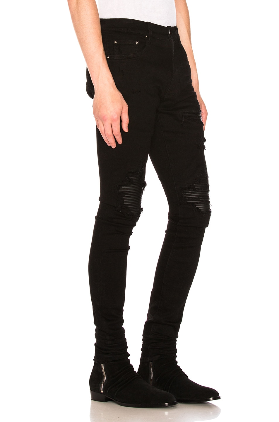 Image 2 of Amiri MX1 Leather Patch Skinny Jeans in Black
