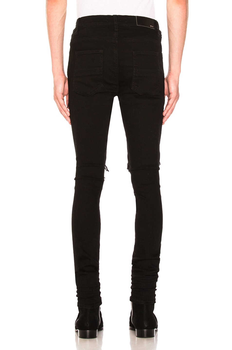 Image 3 of Amiri MX1 Leather Patch Skinny Jeans in Black