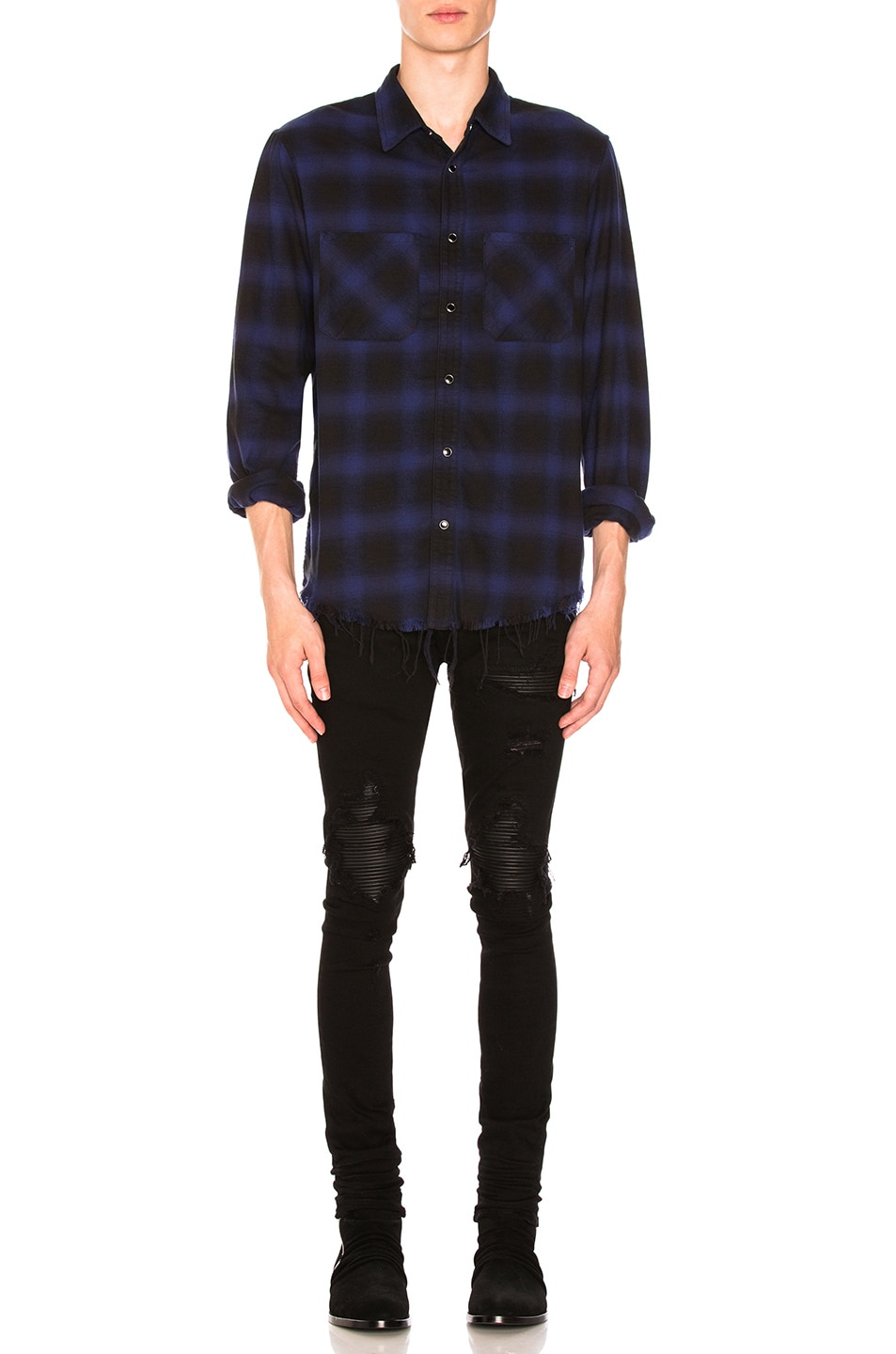 Image 4 of Amiri MX1 Leather Patch Skinny Jeans in Black