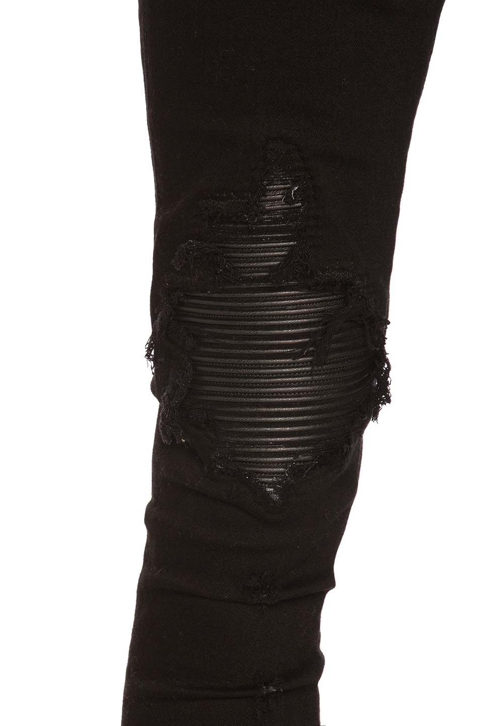 Image 5 of Amiri MX1 Leather Patch Skinny Jeans in Black