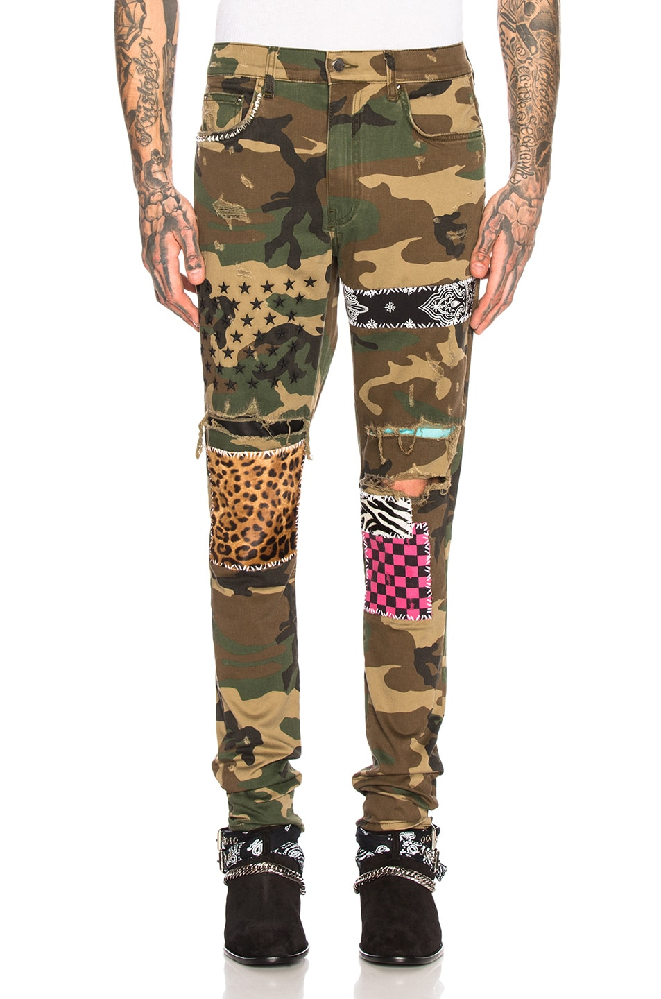 Image 1 of Amiri Art Patch Jeans in Camo
