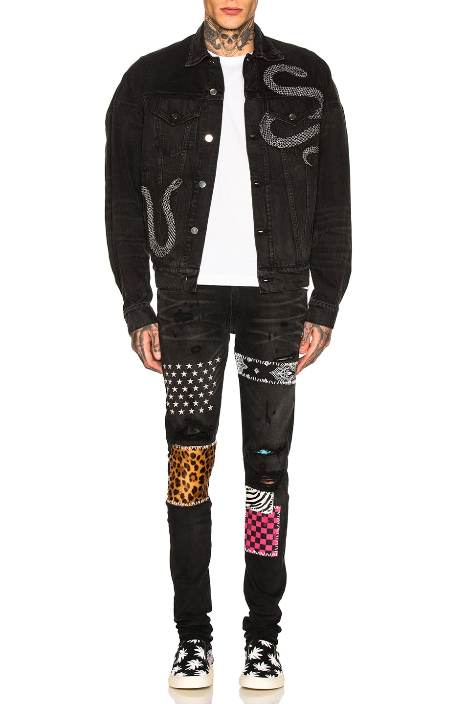 Image 5 of Amiri Art Patch Jeans in Aged Black