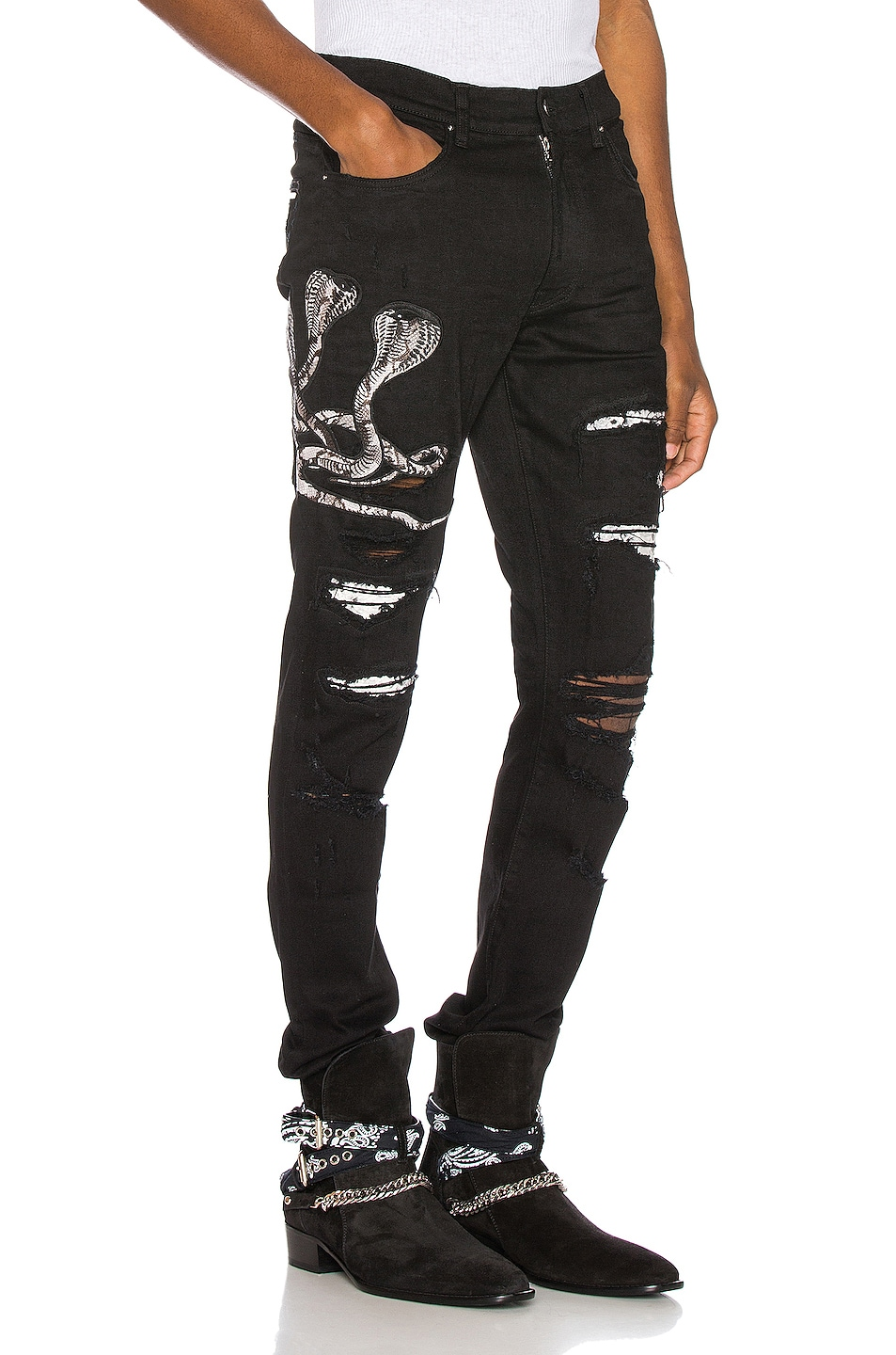 Image 1 of Amiri Snake Patch Jean in Black