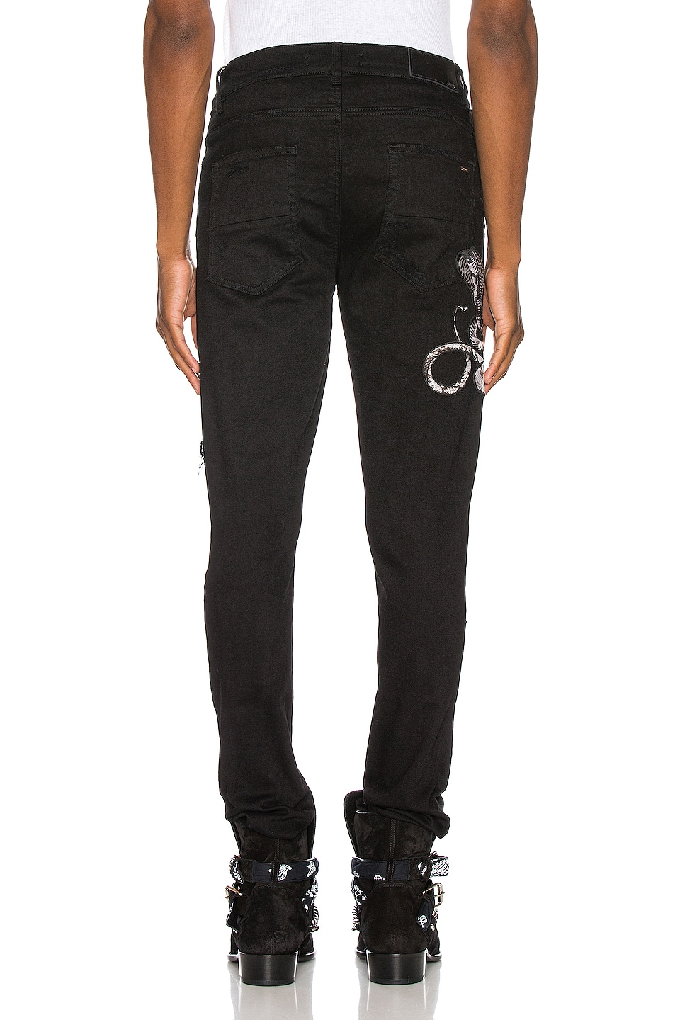 Image 4 of Amiri Snake Patch Jean in Black