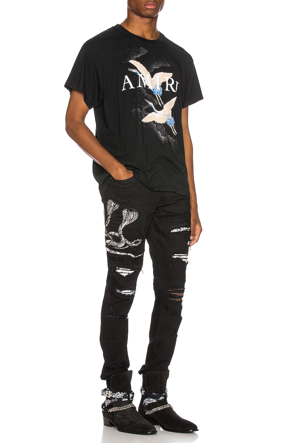 Image 5 of Amiri Snake Patch Jean in Black