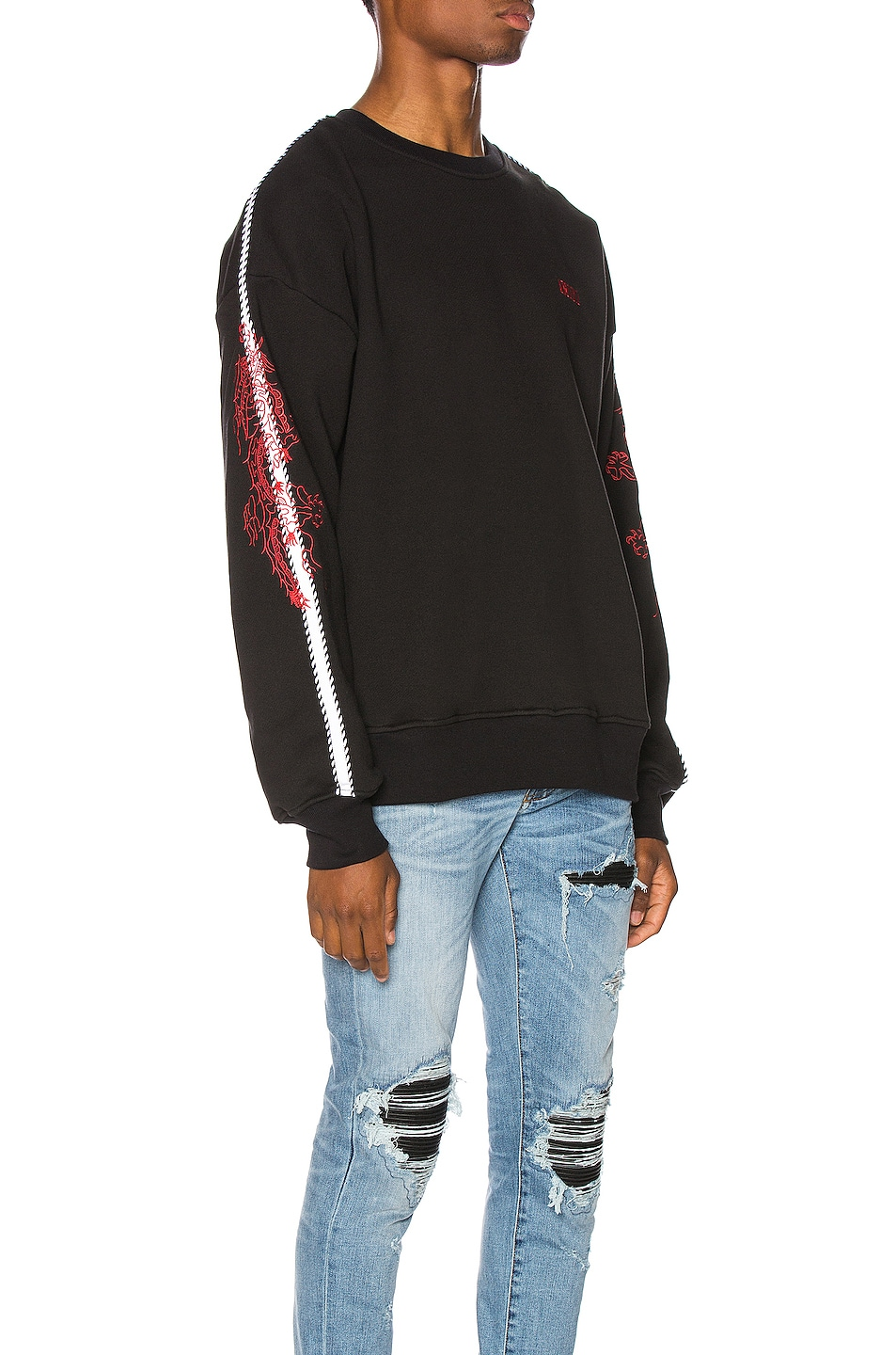 Image 3 of Amiri Dragon Outline Crewneck in Tar