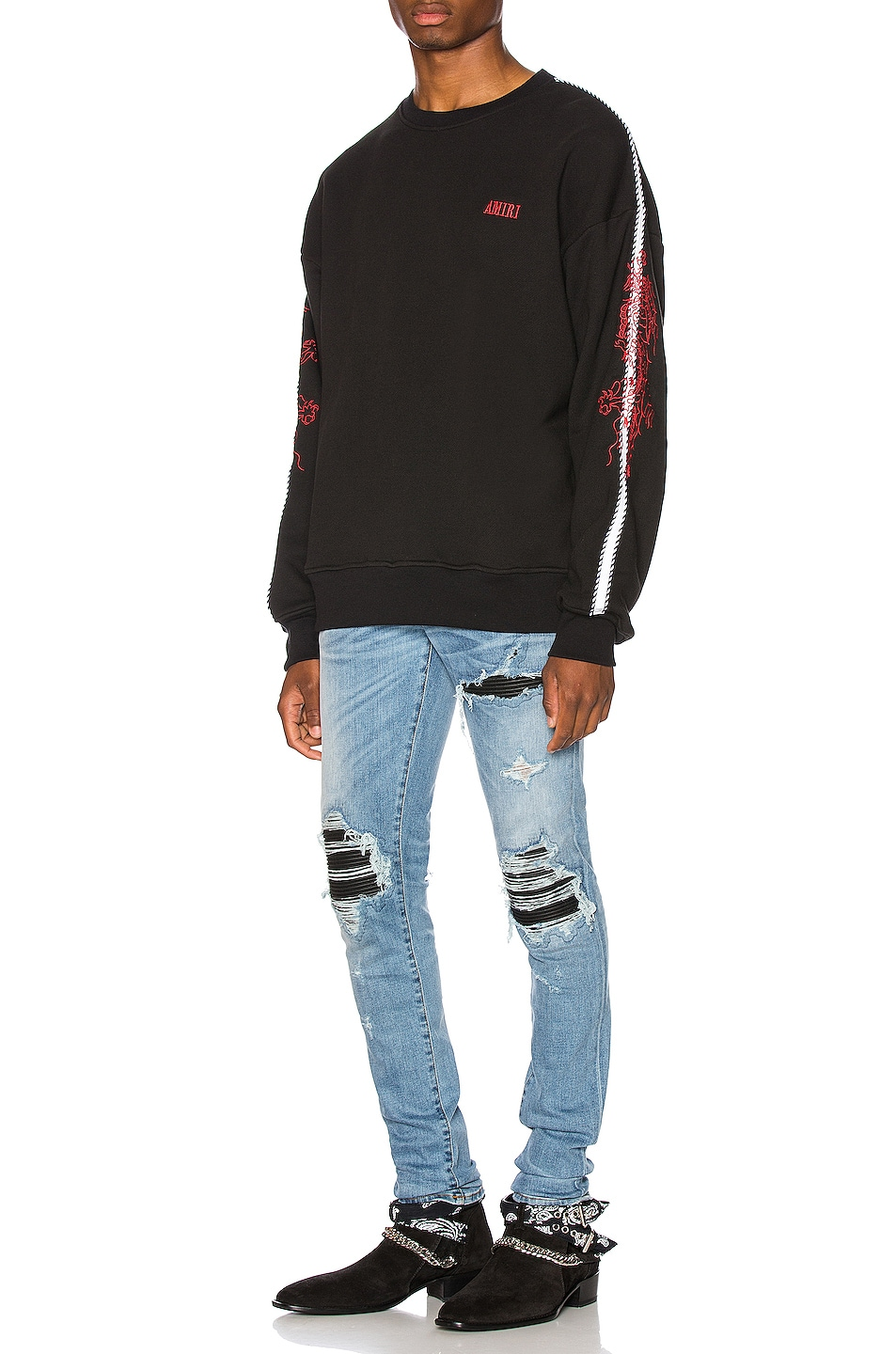 Image 5 of Amiri Dragon Outline Crewneck in Tar