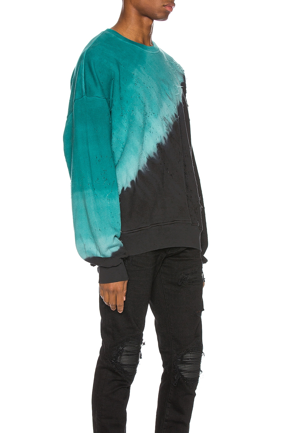 Image 2 of Amiri Tie Dye Shotgun Crewneck in Black & Teal