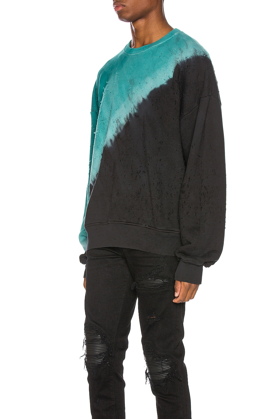 Image 3 of Amiri Tie Dye Shotgun Crewneck in Black & Teal
