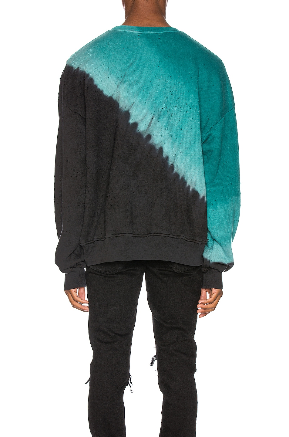 Image 4 of Amiri Tie Dye Shotgun Crewneck in Black & Teal