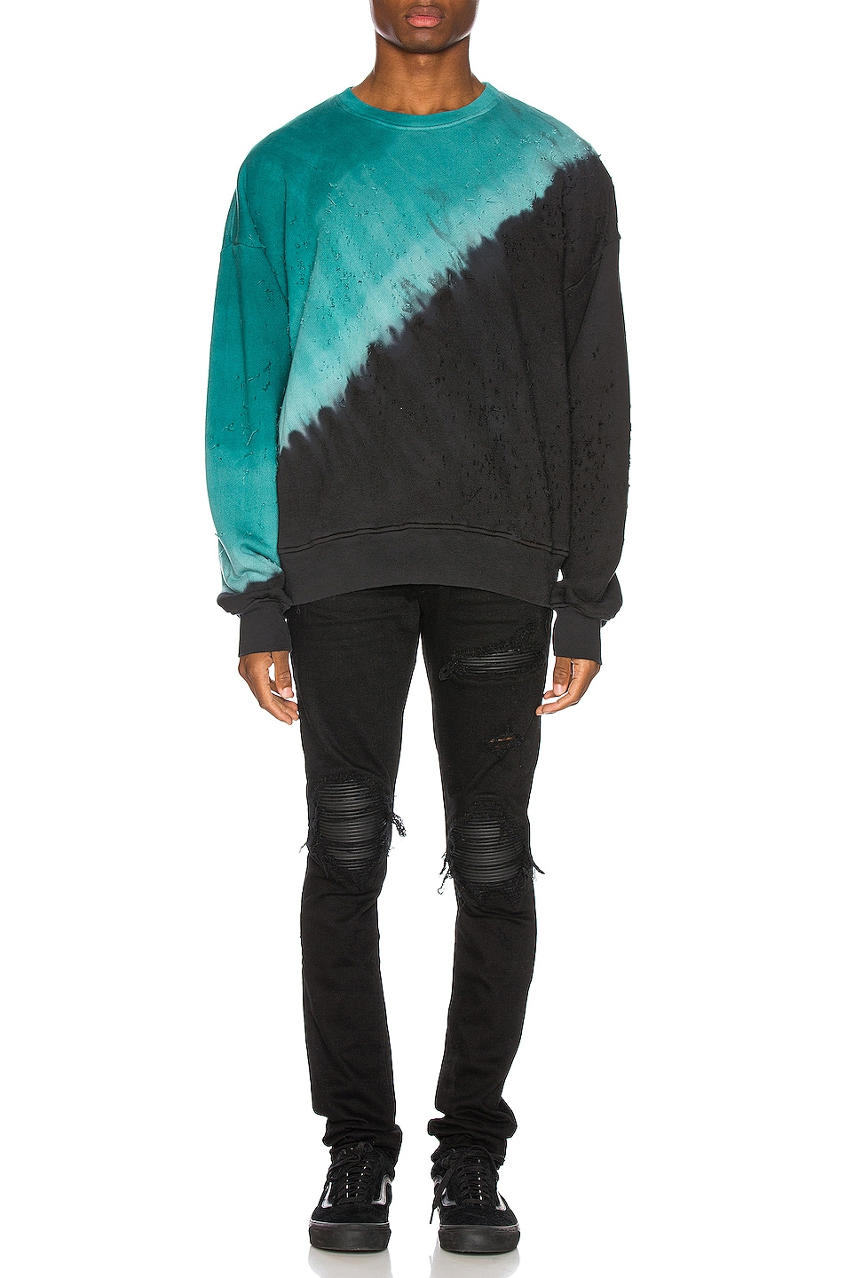 Image 5 of Amiri Tie Dye Shotgun Crewneck in Black & Teal