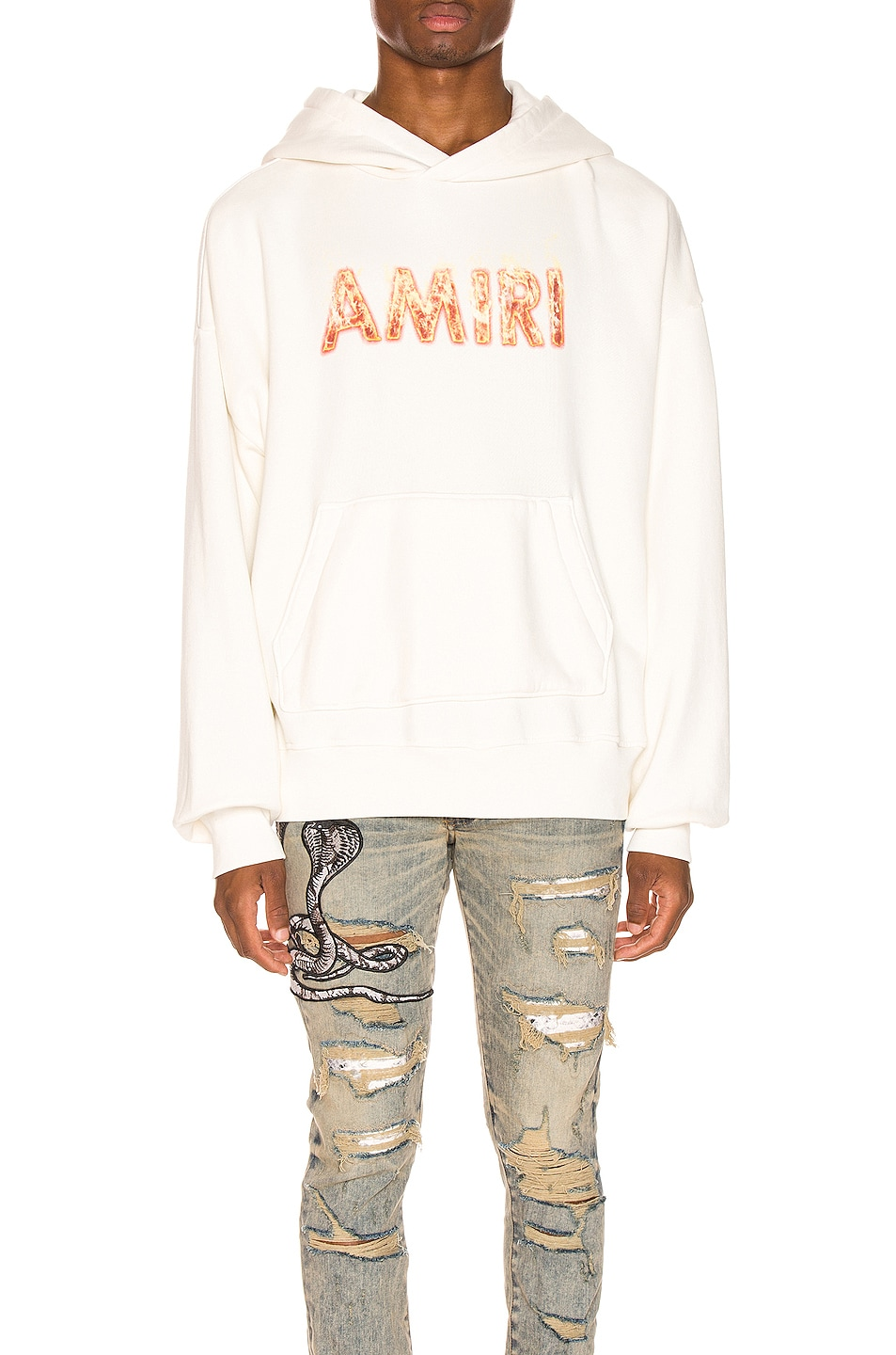 Image 1 of Amiri Flame Logo Hoodie in Marshmallow