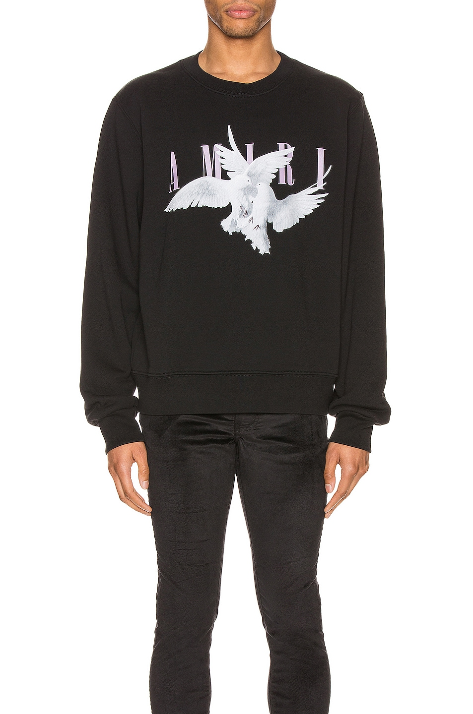 Image 1 of Amiri Dual Doves Crew in Black