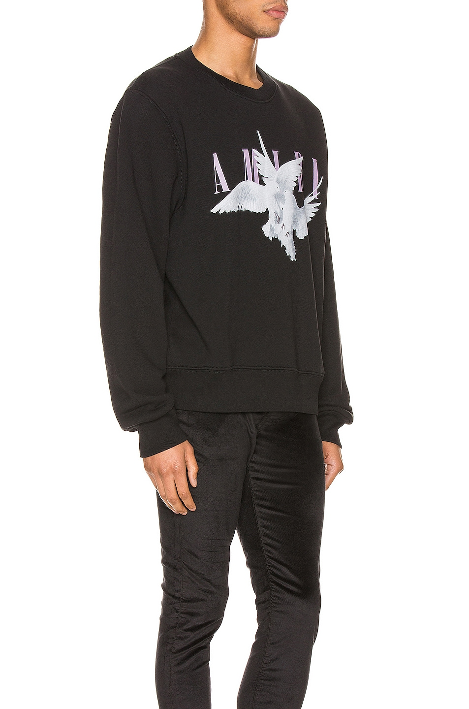 Image 2 of Amiri Dual Doves Crew in Black