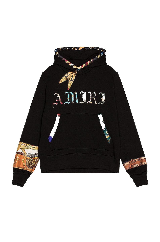 Image 1 of Amiri Patch Scarves Old English Hoodie in Black