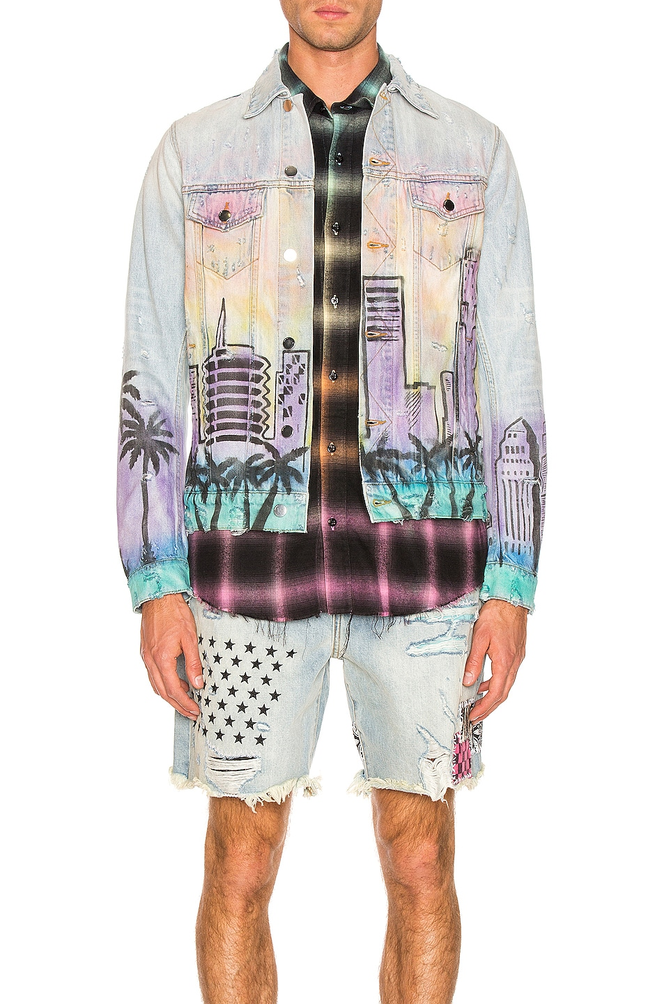 Amiri Jackets Airbrush Hollywood Trucker Jacket