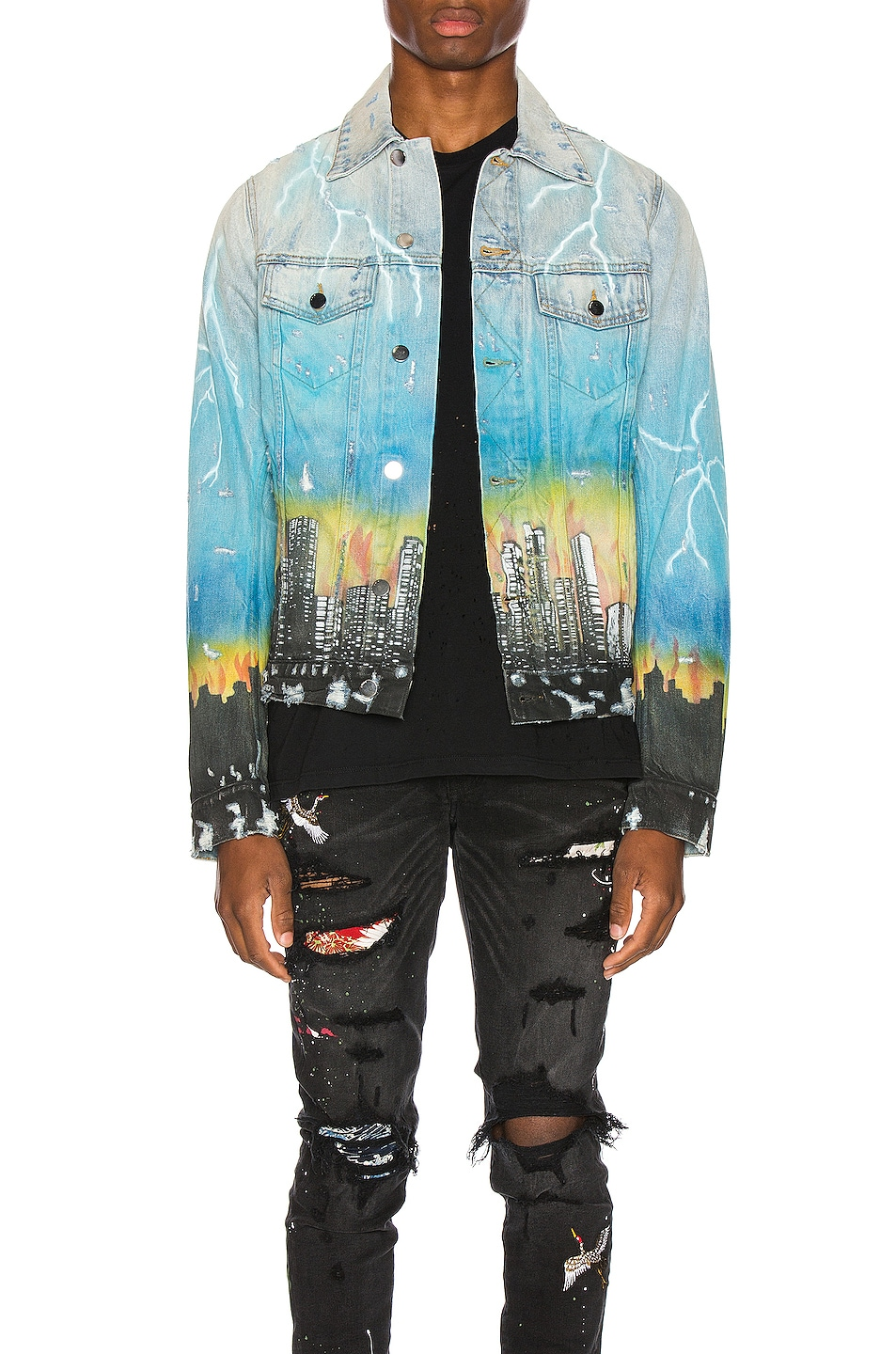 Image 1 of Amiri City Dragon Trucker Jacket in Classic Indigo