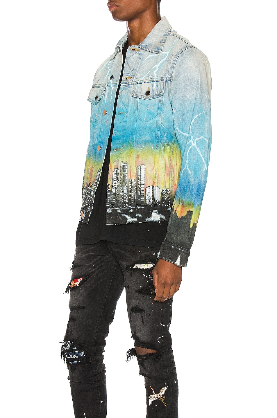 Image 3 of Amiri City Dragon Trucker Jacket in Classic Indigo