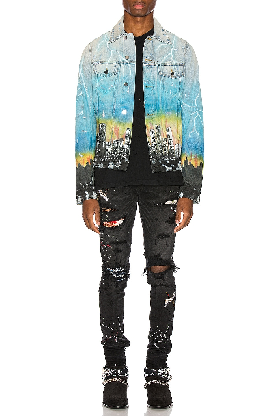 Image 5 of Amiri City Dragon Trucker Jacket in Classic Indigo