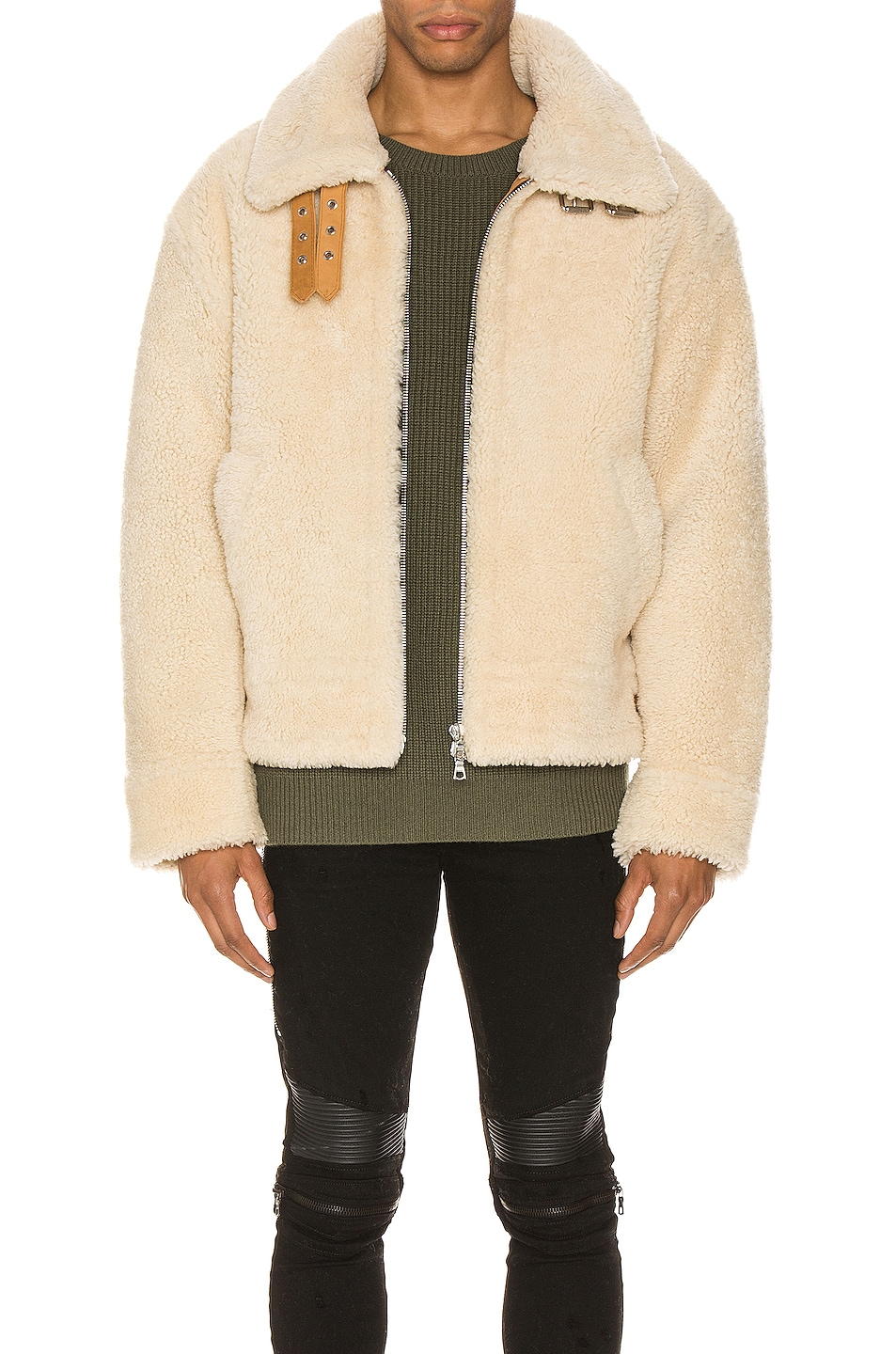 Image 1 of Amiri Oversized Shearling Jacket in Natural
