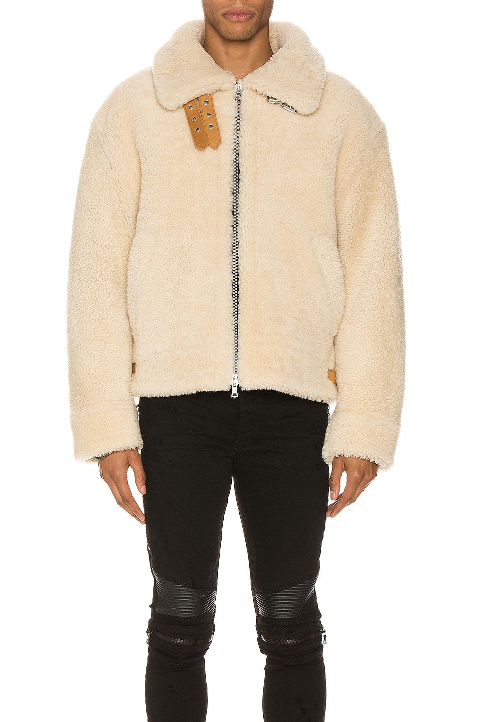 Image 2 of Amiri Oversized Shearling Jacket in Natural