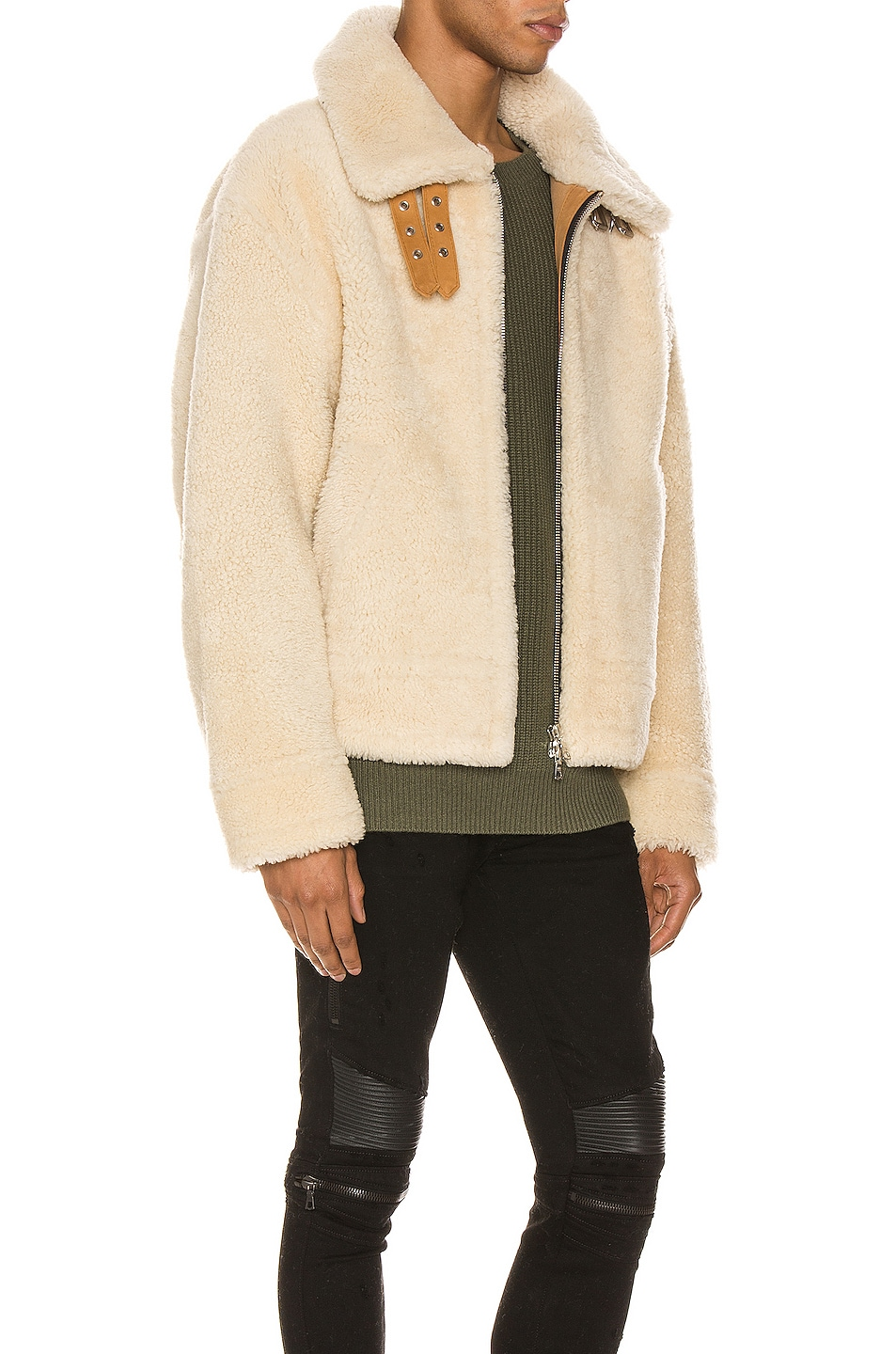 Image 3 of Amiri Oversized Shearling Jacket in Natural