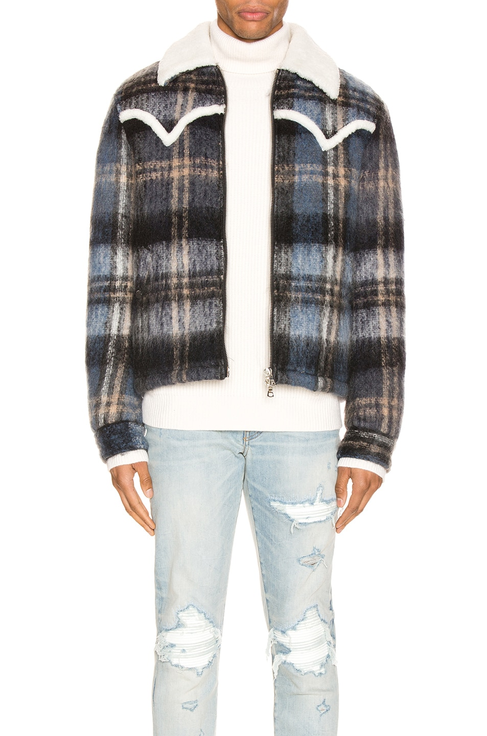 Image 1 of Amiri Plaid Short Trench Coat in Blue