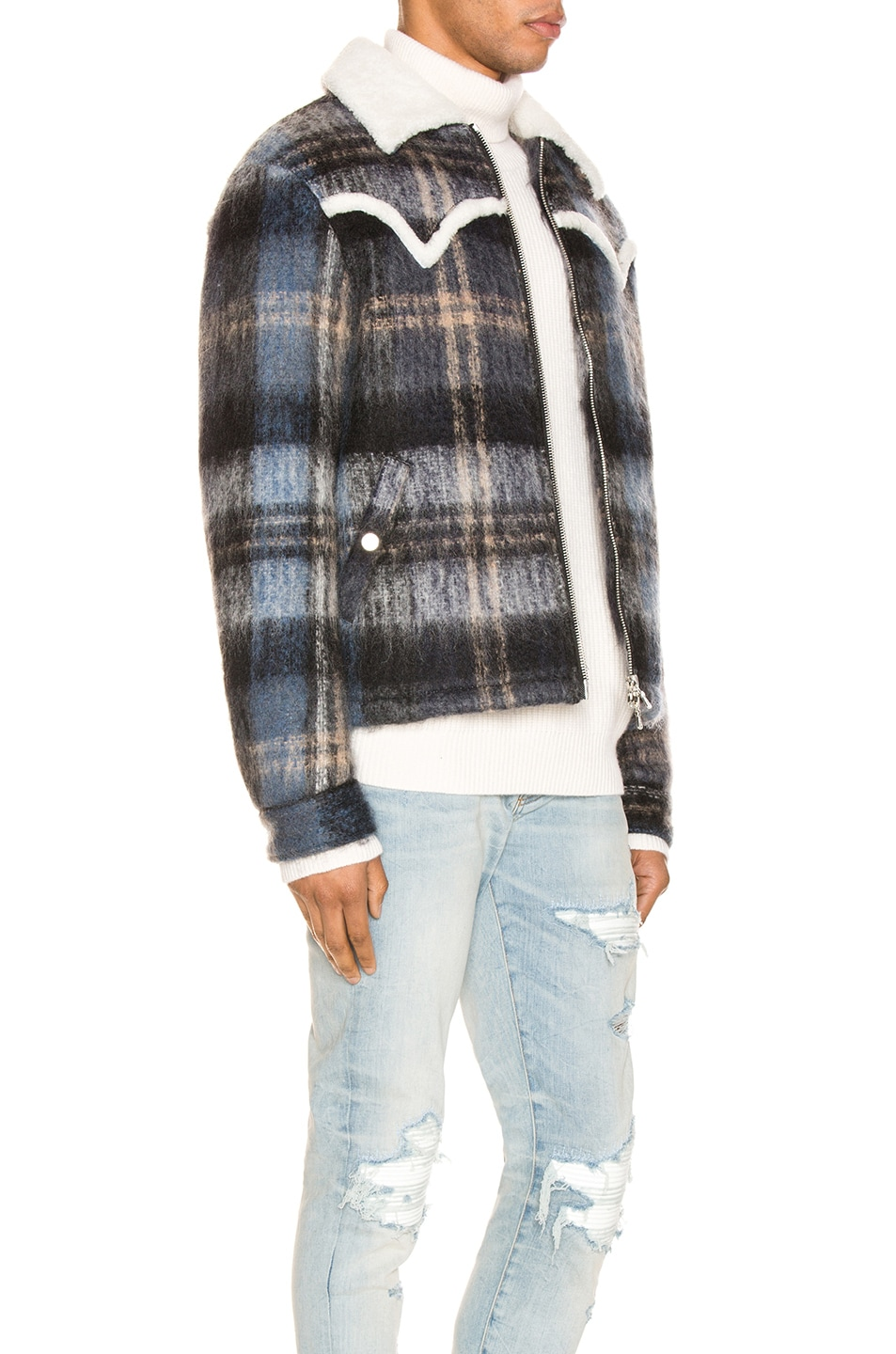 Image 3 of Amiri Plaid Short Trench Coat in Blue