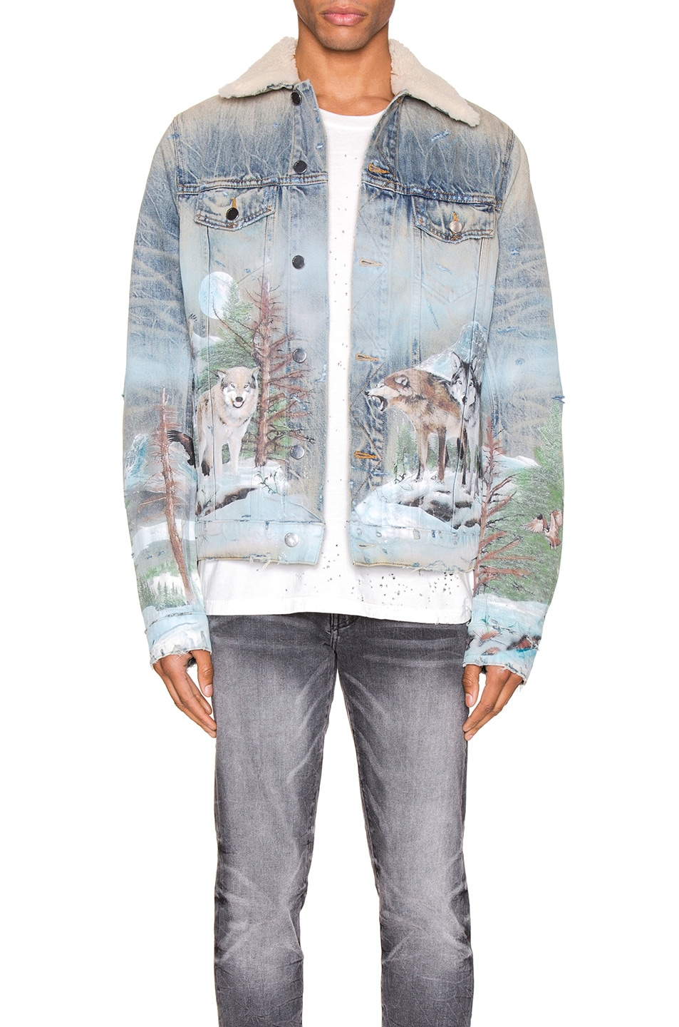 Image 1 of Amiri Shearling Airbrush Trucker Jacket in Vintage Blue