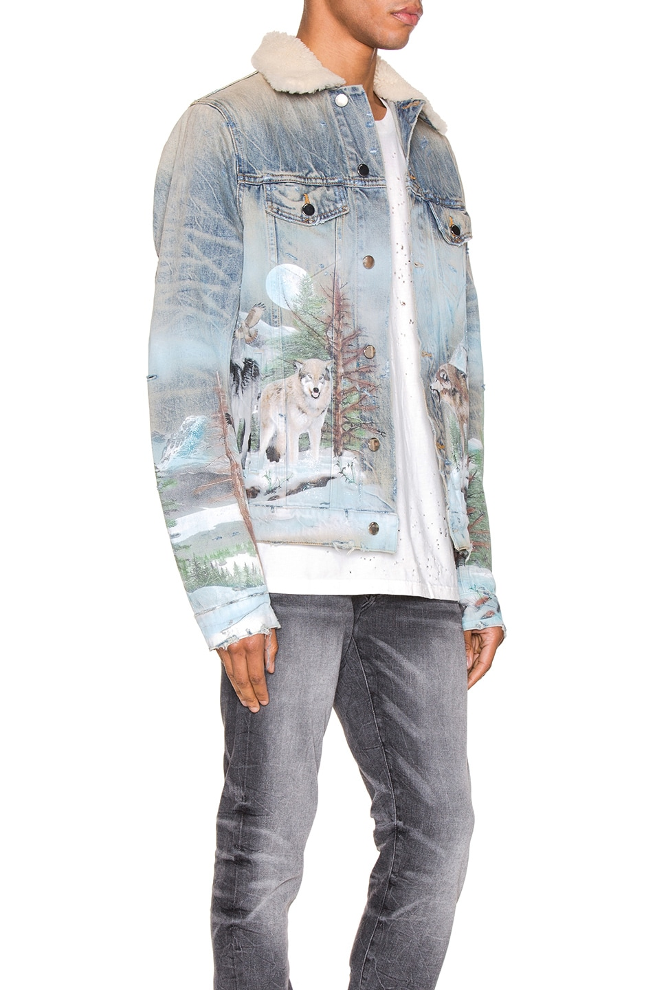 Image 2 of Amiri Shearling Airbrush Trucker Jacket in Vintage Blue