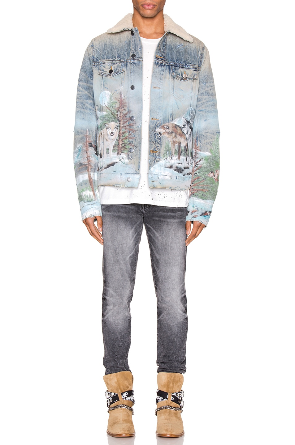 Image 5 of Amiri Shearling Airbrush Trucker Jacket in Vintage Blue