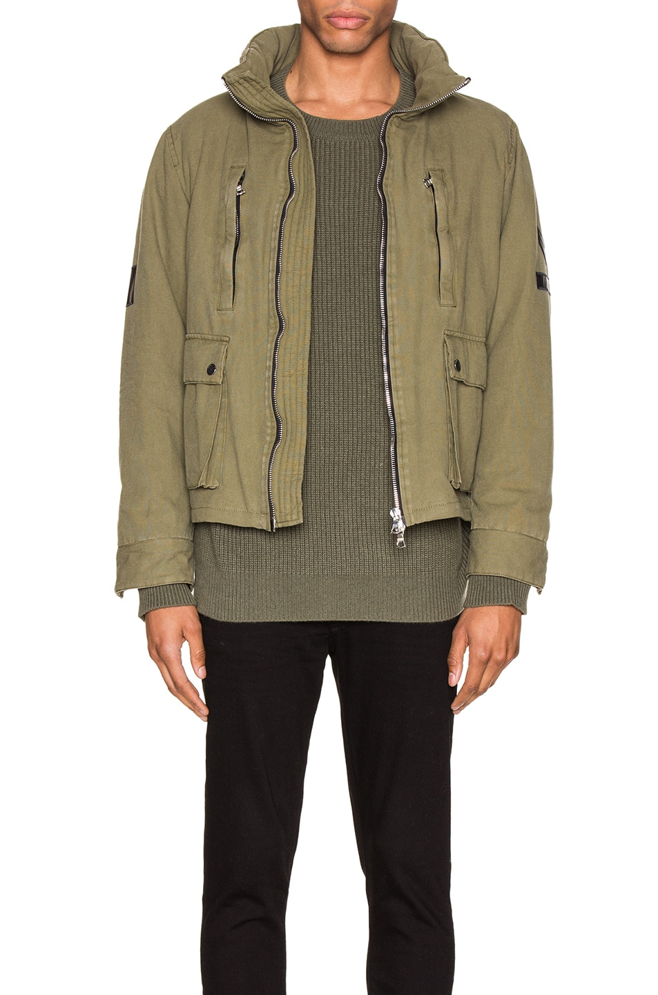 Image 2 of Amiri Military Stand Collar Jacket in Green