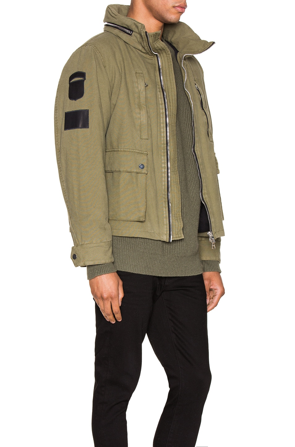 Image 4 of Amiri Military Stand Collar Jacket in Green