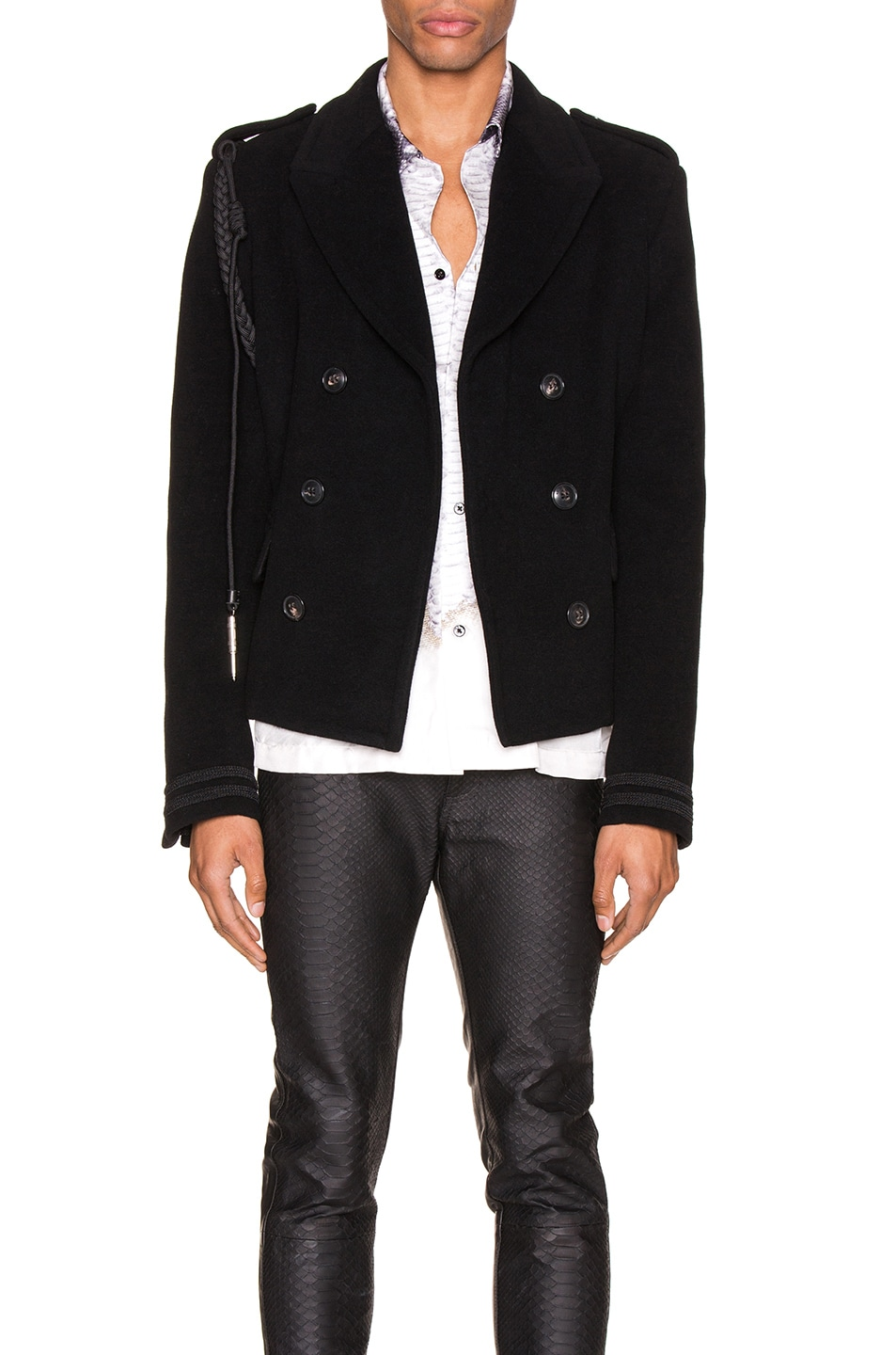 Image 1 of Amiri Double Breasted Corded Short Coat in Black