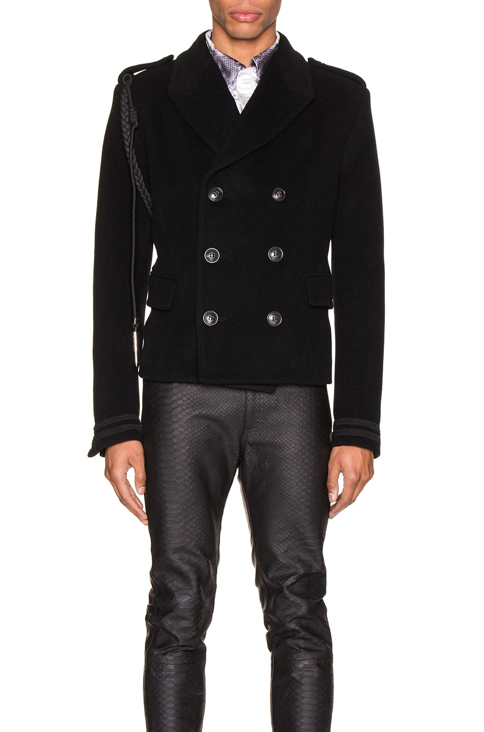 Image 2 of Amiri Double Breasted Corded Short Coat in Black