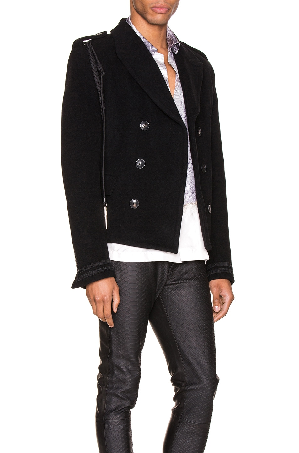 Image 3 of Amiri Double Breasted Corded Short Coat in Black