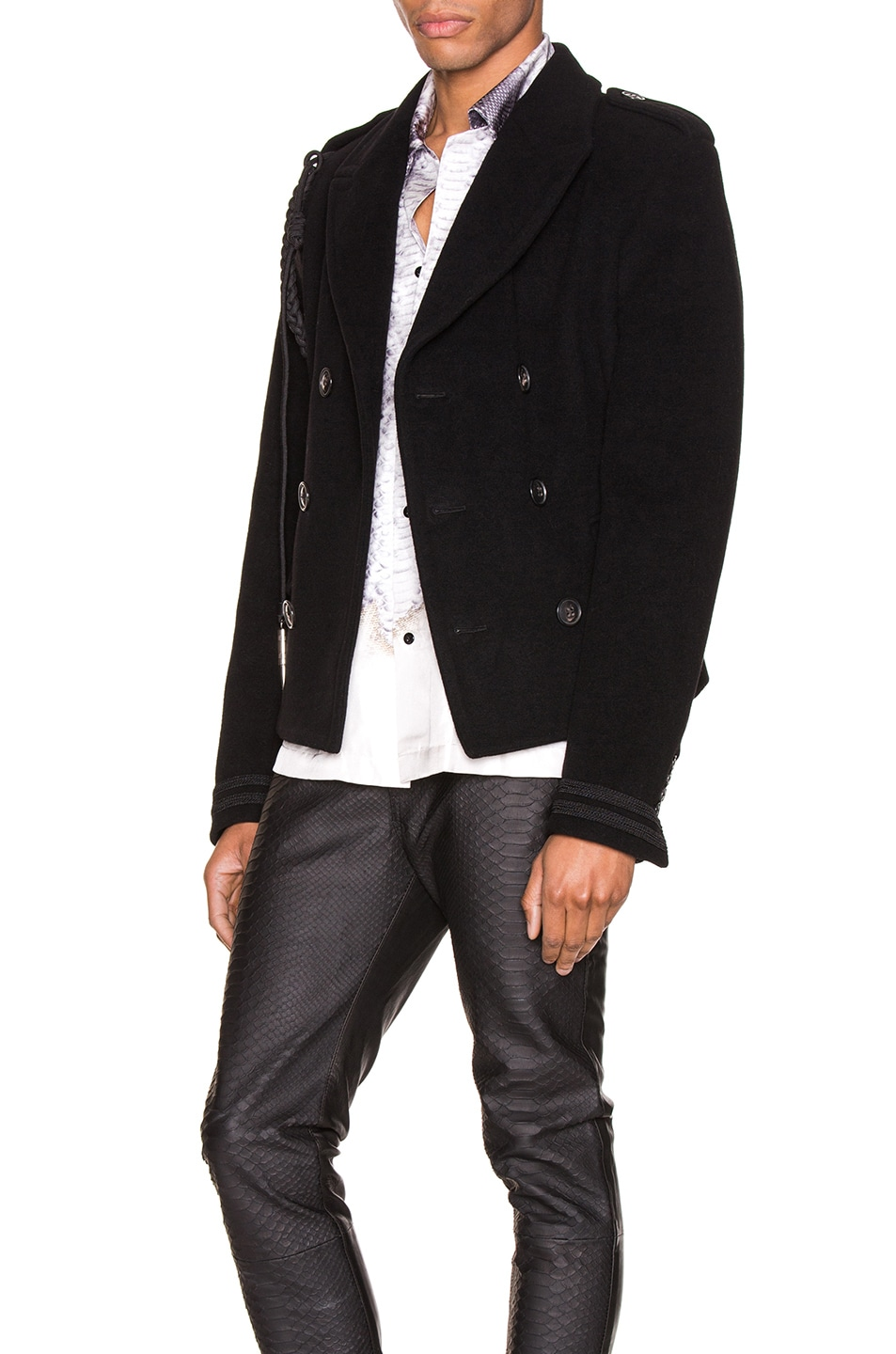 Image 4 of Amiri Double Breasted Corded Short Coat in Black