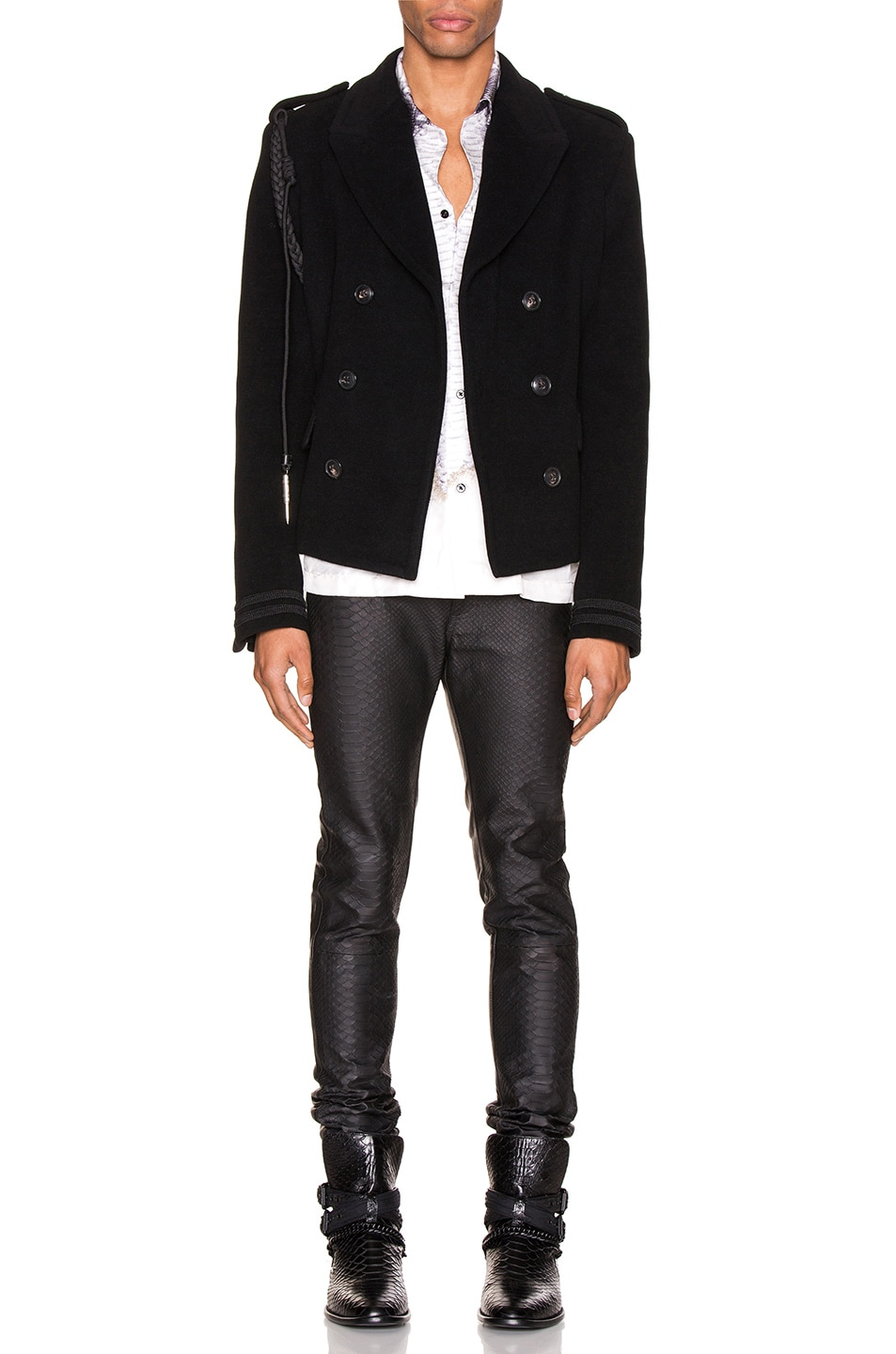 Image 6 of Amiri Double Breasted Corded Short Coat in Black