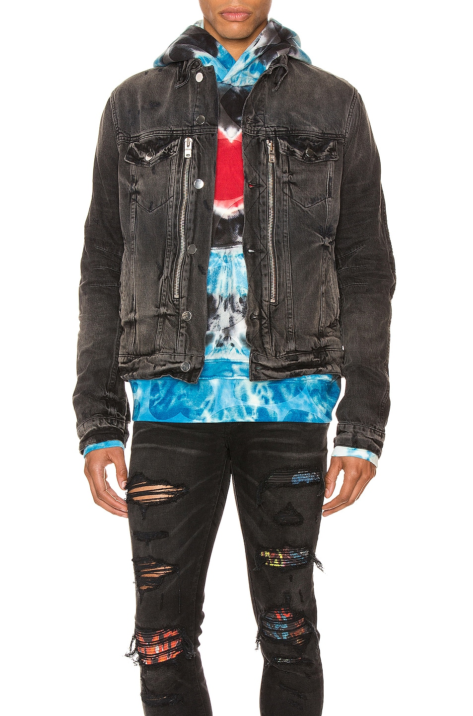 Image 1 of Amiri MX Trucker Jacket in Antique Black